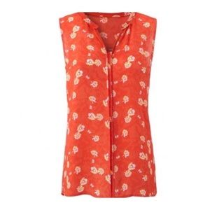 CAbi Vital Orange Floral Sleeveless Blouse